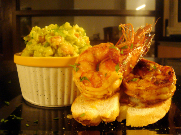 shrimp scampi and guacamole