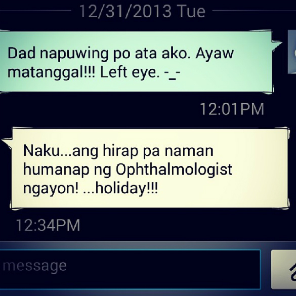 My dad's conversation with my sister, Michelle, via SMS.