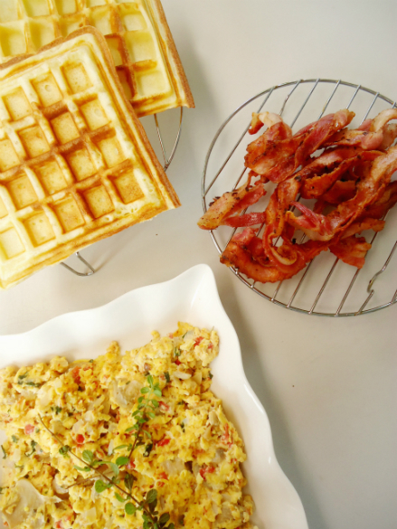 Bacon, scrambled egg, and homemade waffles.