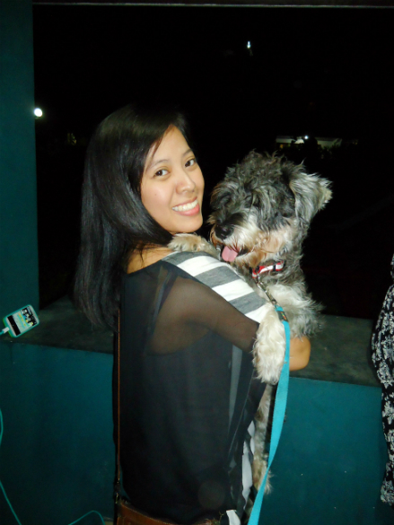 with our schnauzer, Clue. :)